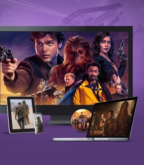 Stills from Solo: A Star Wars Story displayed on a TV, laptop and various devices
