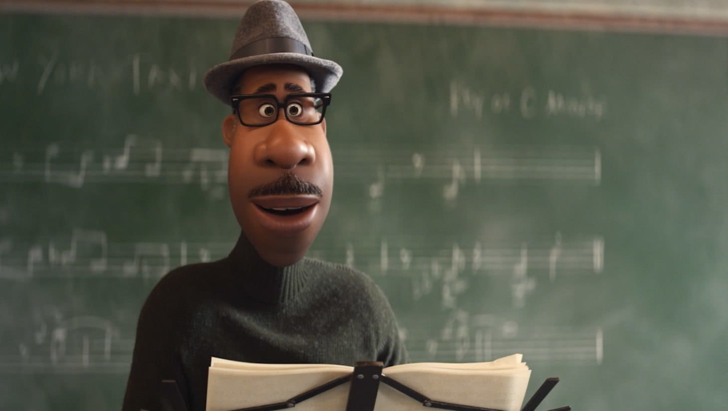 Joe Gardner, voiced by Jamie Foxx, crossing a road
