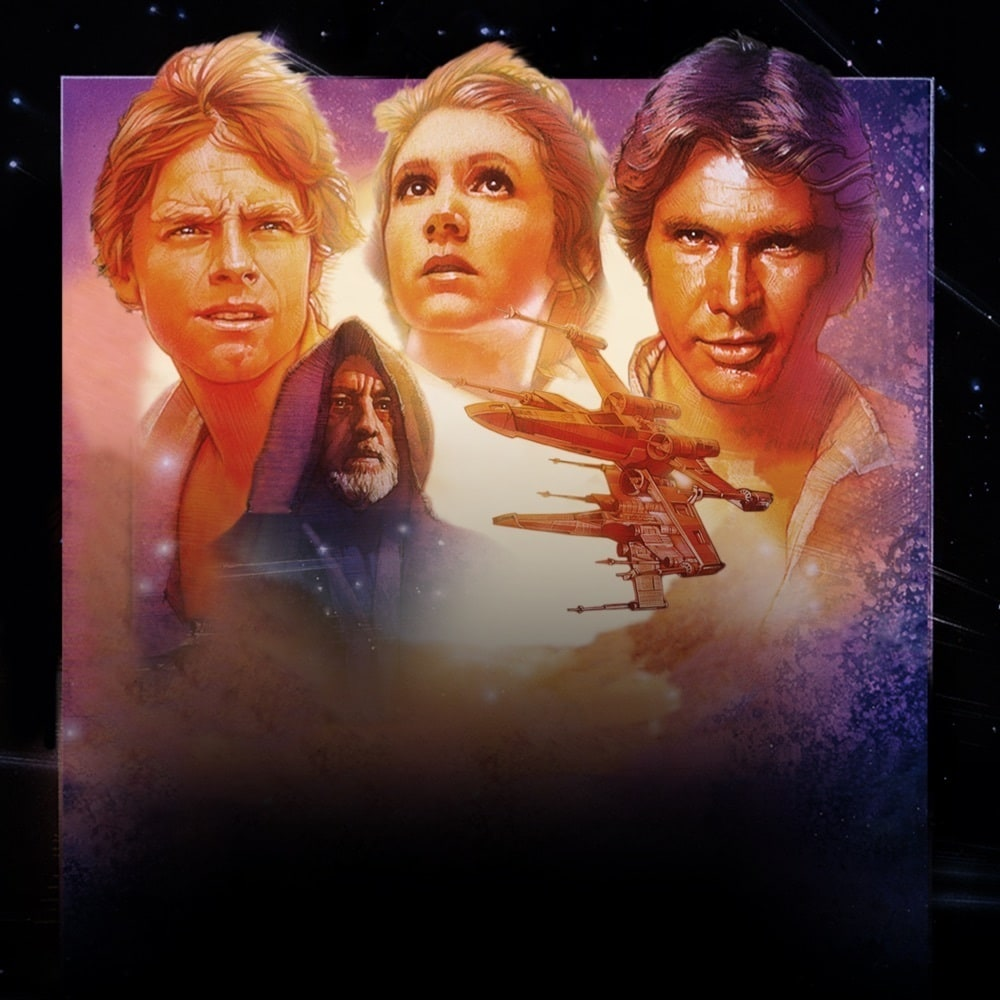 The Star Wars: Episode IV - A New Hope movie poster including a close ups of Luke Skywalker, Princess Leia, Han Solo and Obi-WanKenobi