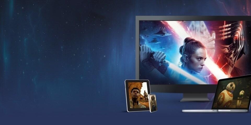 Afbeeldingen uit Star Wars: The Rise of Skywalker getoond op een TV, laptop, tablet en mobiele telefoon