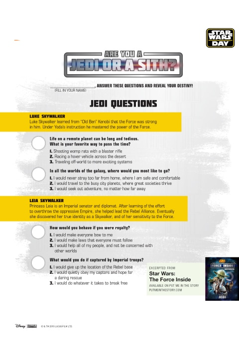A list of questions for a Jedi Quiz