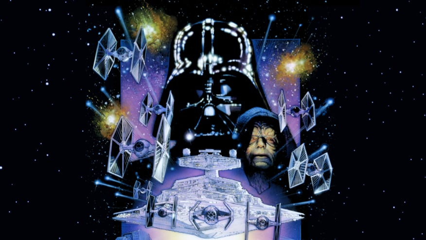 The Star Wars: Episode V - The Empire Strikes back movie poster including a close up of Darth Vader, Sheev Palpetine, Tie fighters and the star destroyer