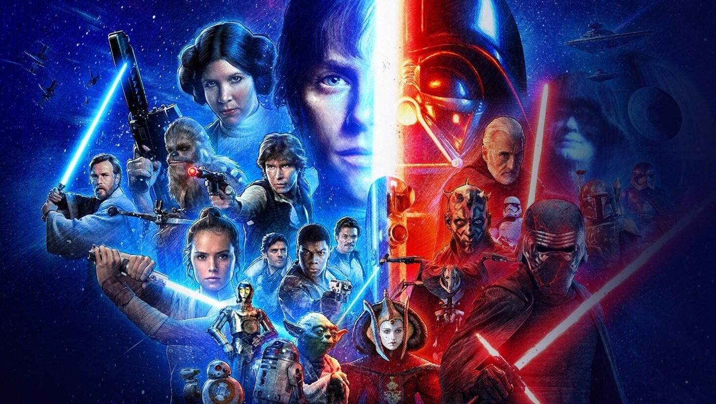 Een afbeelding uit de complete Skywalker Saga op Disney+