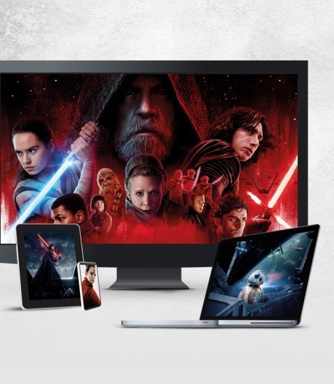 Stills from Star Wars: The Last Jedi displayed on a TV, laptop and various devices