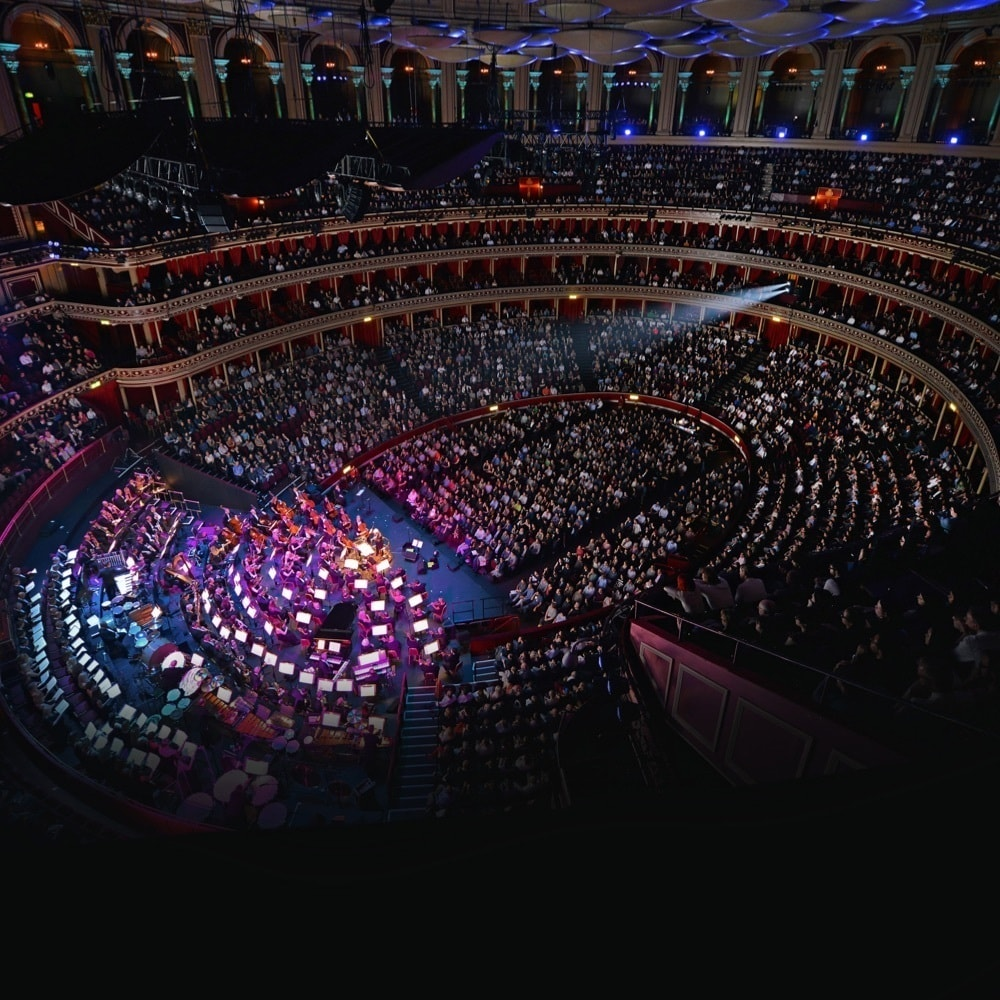 Aerial view inside London's Royal Albert Hall