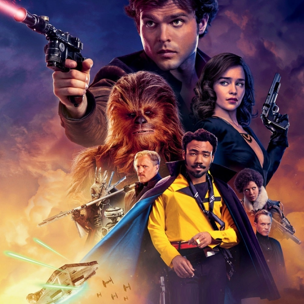 Han Solo, Chewbacca, Qi'ra, Lando and Beckett in front of a yellow and purple background