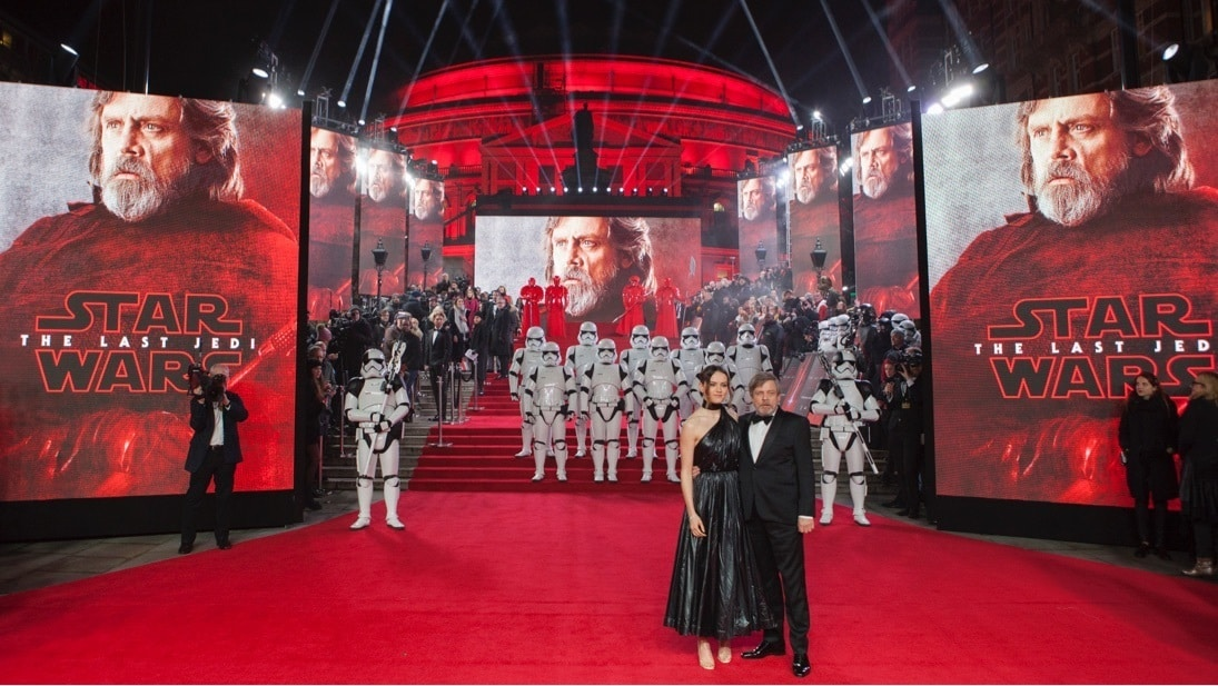 Daisy Ridley and Mark Hamill on the red carpet with stormtroopers in the background at the Star: Wars The Last Jedi premiere