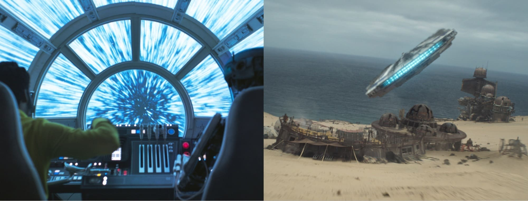 Millennium Falcon cockpit and at the Savareen refinery