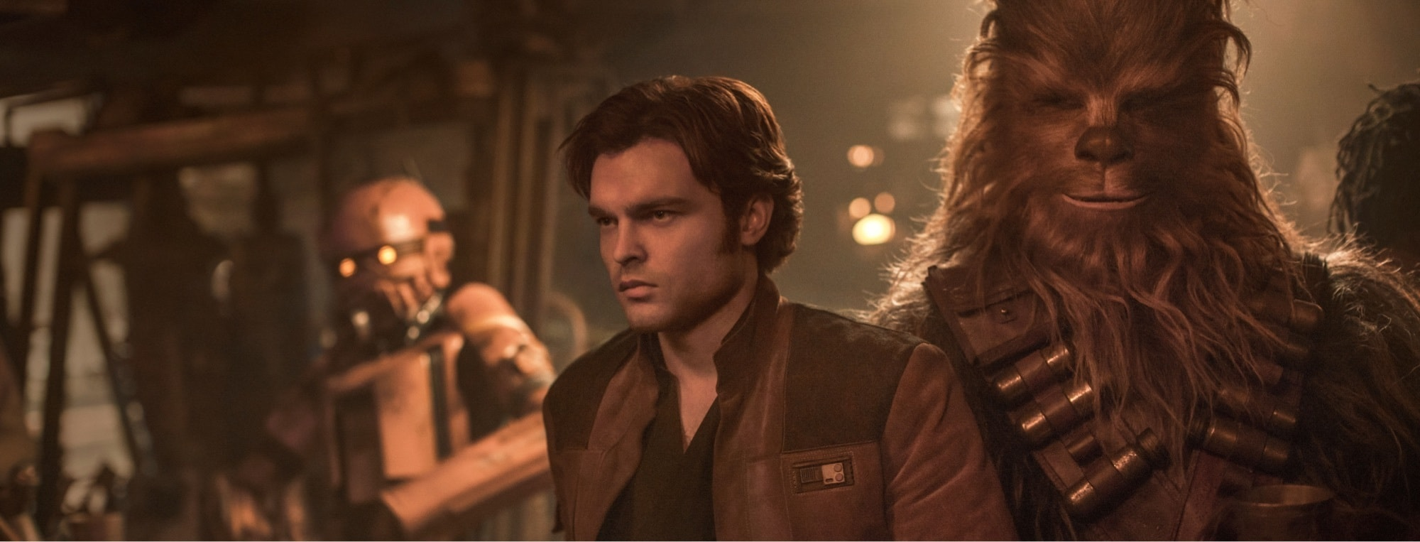 Han Solo and Chewbacca at the hidden outpost on Numidian Prime