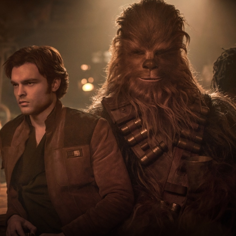Han Solo and Chewbacca standing in a spaceship in Solo: A Star Wars Story