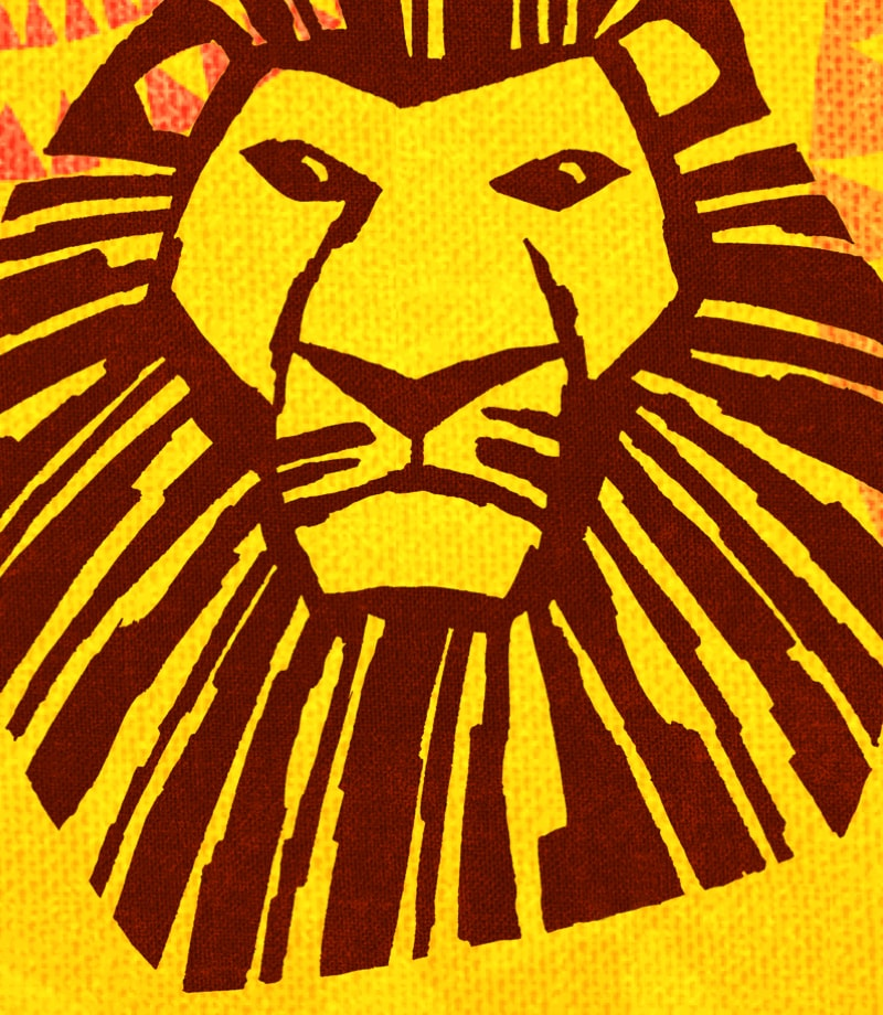 An illustrated lion's head with patterns surrounding it on a yellow and orange background