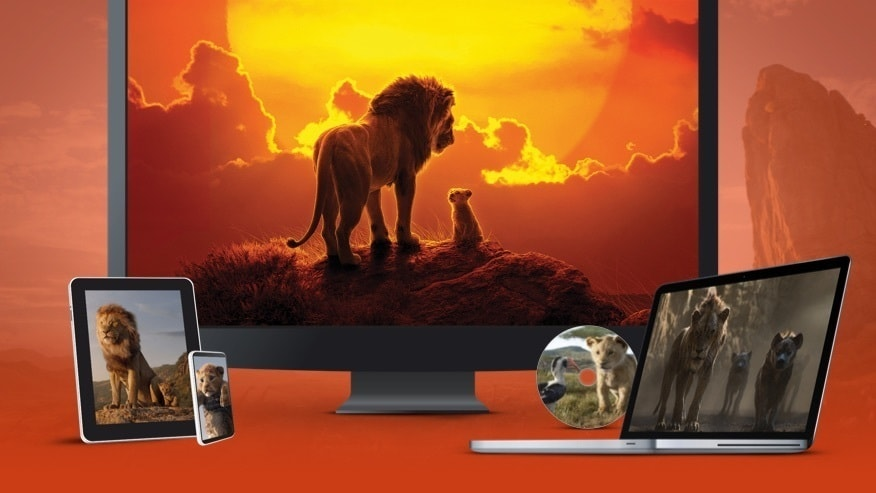 Foto's uit The Lion King op een tv, laptop, tablet en mobiel