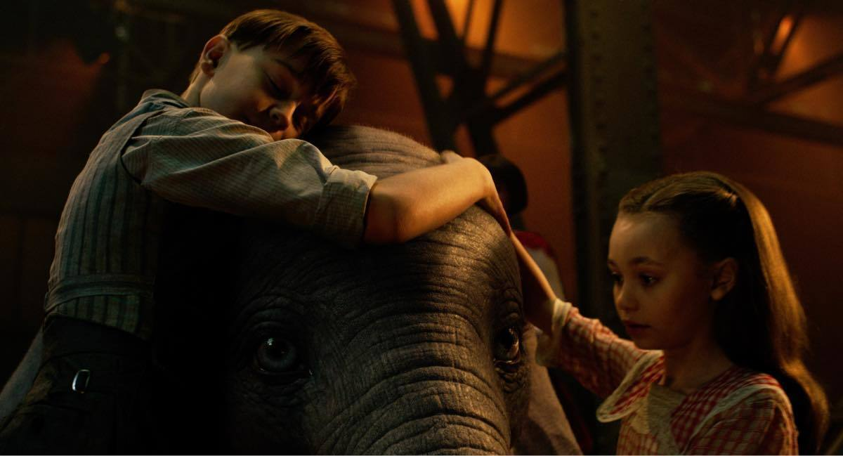 Milly and Joe taking care of a newborn elephant Dumbo