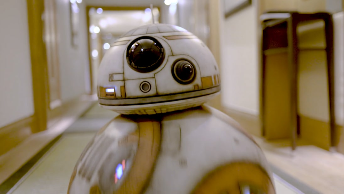 BB-8 rolling down the corridor in Star Wars: The Last Jedi