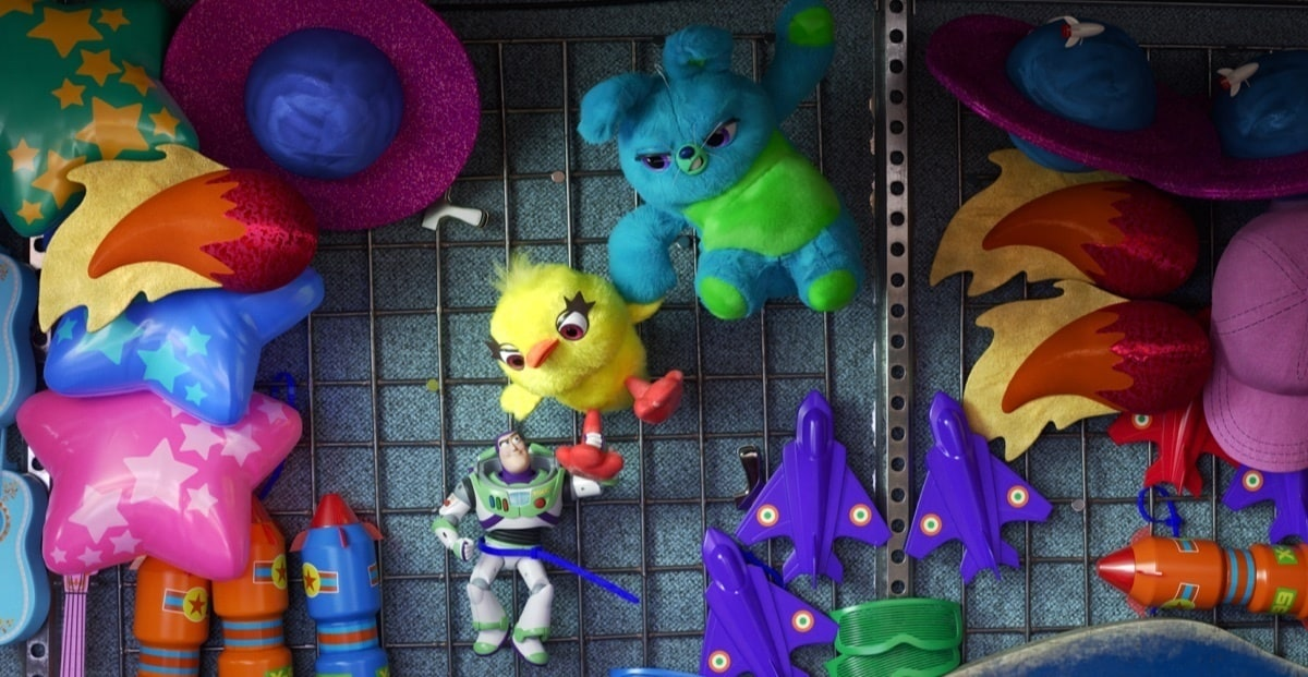 Ducky and Bunny arguing with Buzz at the carnival.