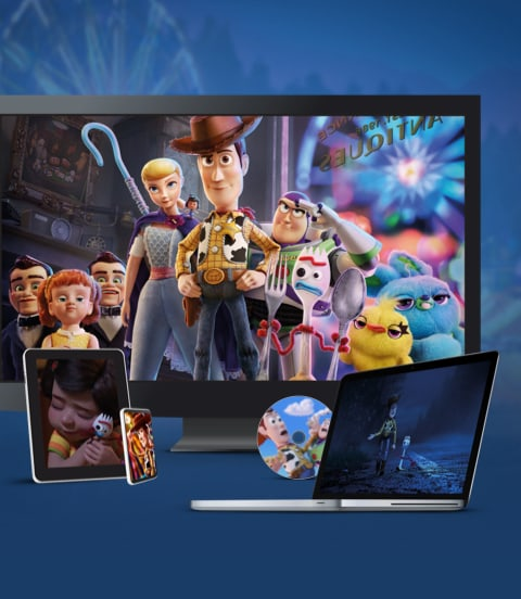 Stills from Toy Story 4 displayed on a TV, laptop and various devices