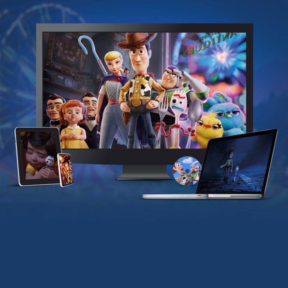 Stills from Toy Story 4 displayed on a TV, laptop, tablet and mobile