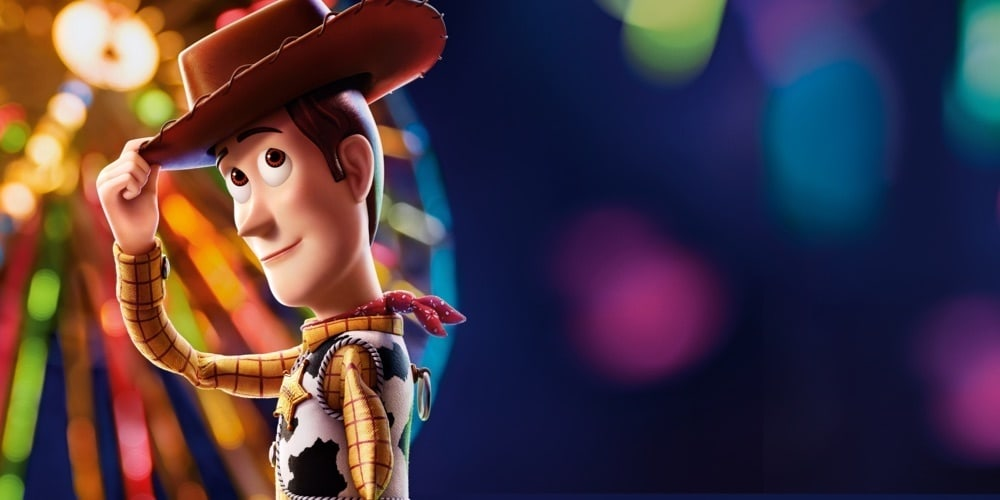 Woody from Toy Story 4 tipping his hat in front of a ferris wheel