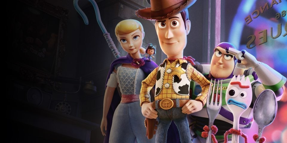 Woody, Buzz, Bo Peep and Forky from Toy Story 4