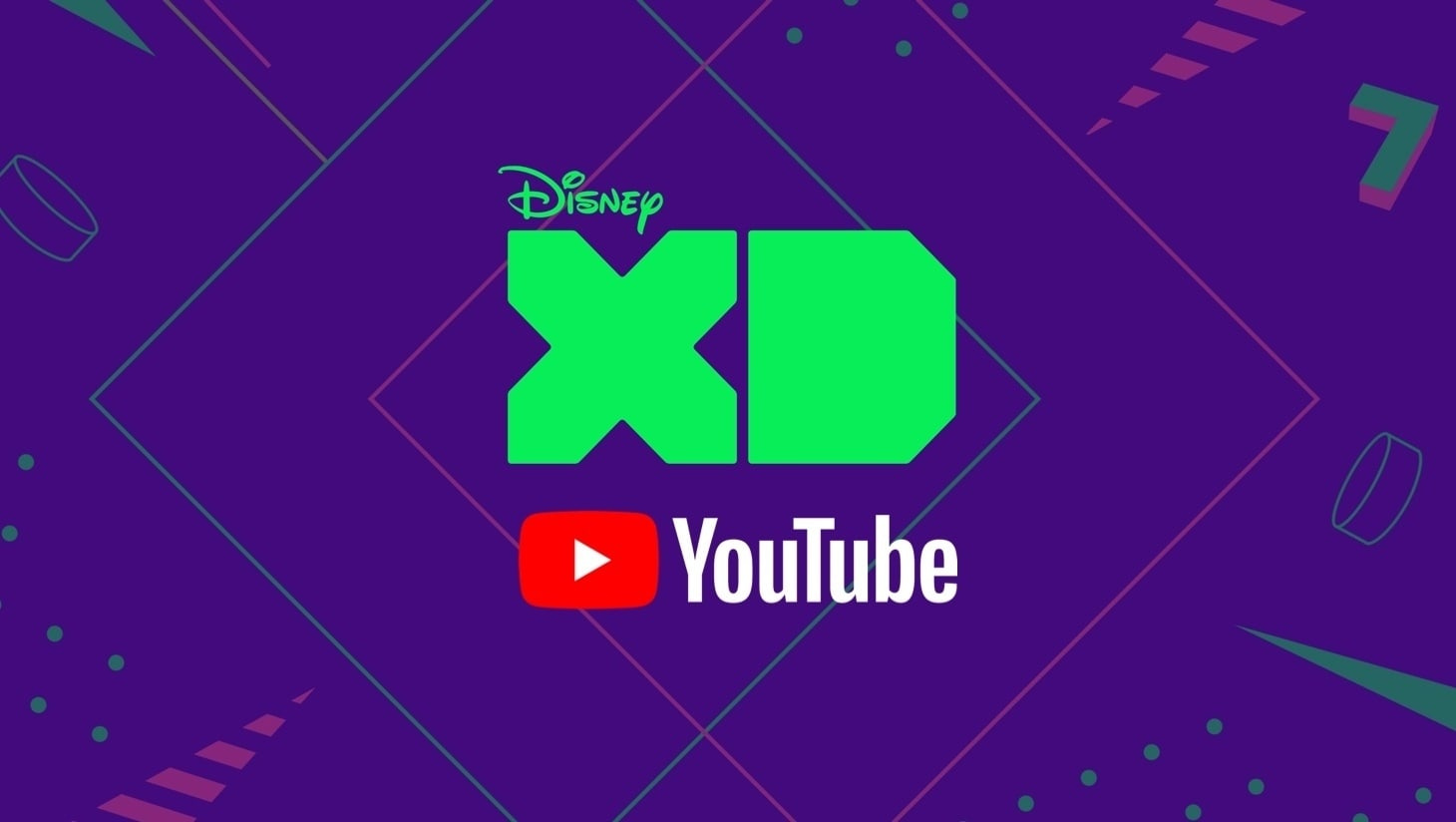 The Disney XD and the YouTube logos on a dark purple background