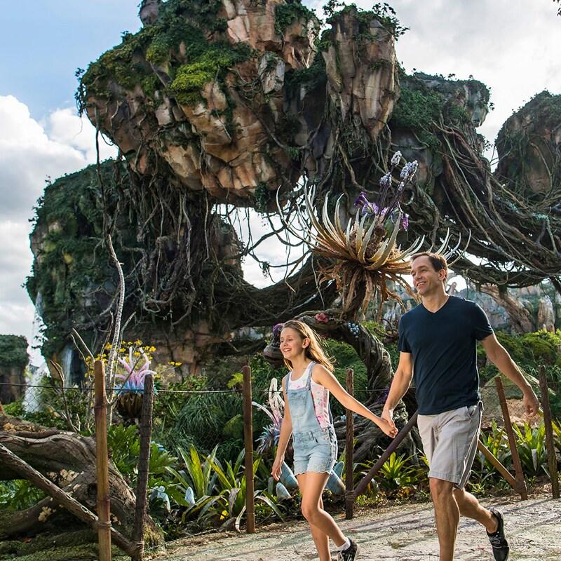 A family walking through Pandora