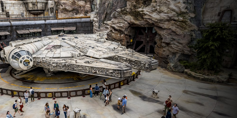 An aerial view of the millennium falcon