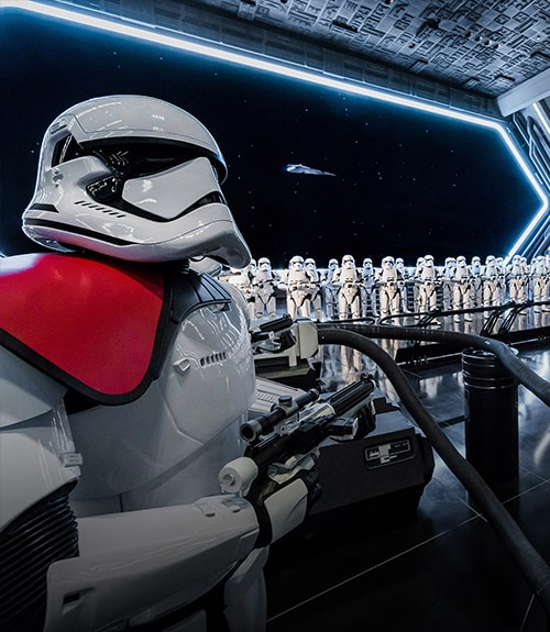 First Order Storm Troopers standing in a hanger
