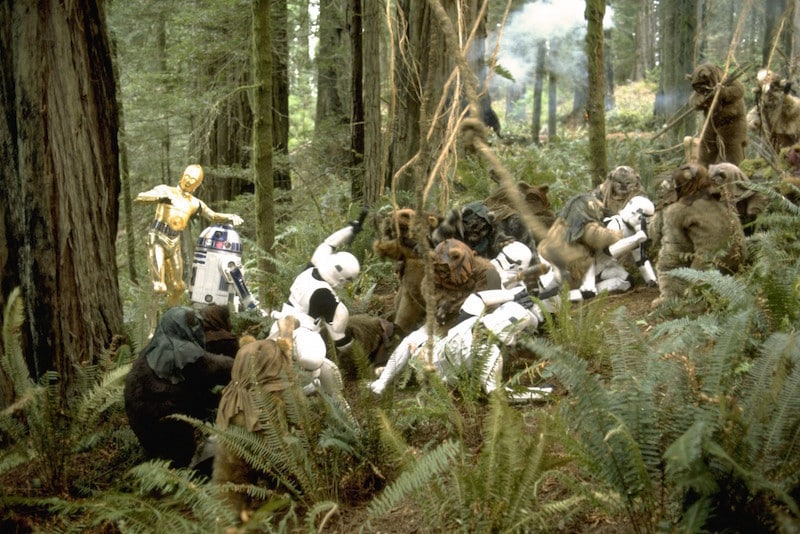 Ewoks ambushing Stormtroopers during the Battle of Endor