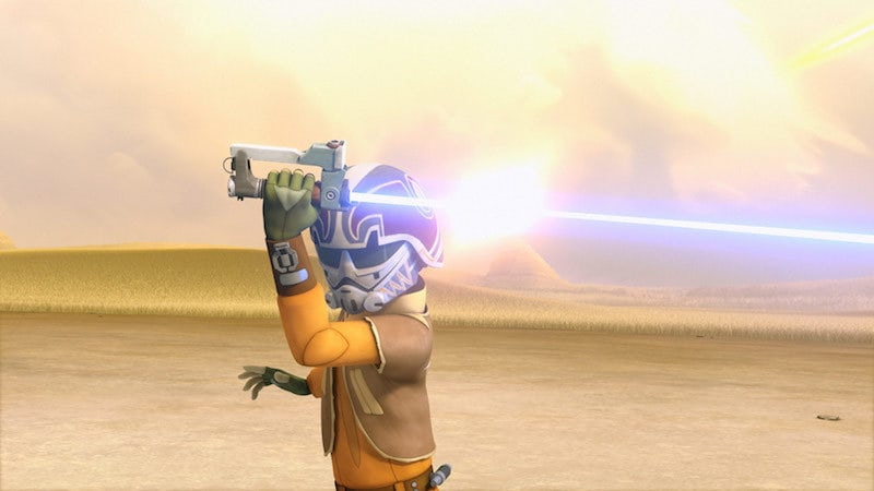 Ezra deflecting blaster fire with his original lightsaber