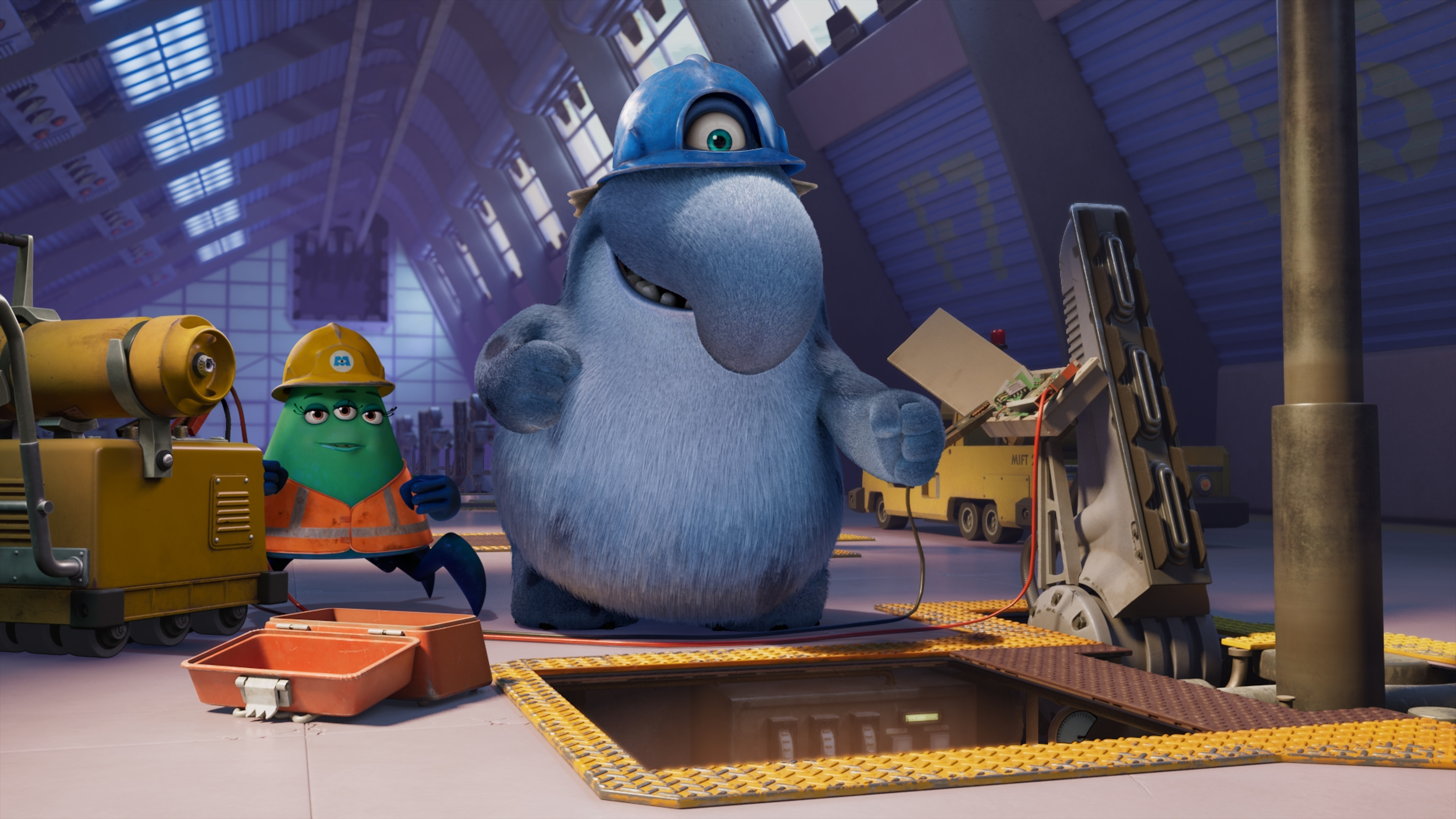 """MONSTERS AT WORK - """"Meet Mift"""" - When Tylor is initiated into MIFT during a bizarre ritual, he wants nothing more than to get away from his odd coworkers.  But when an emergency strikes Monsters, Inc., MIFT kicks into action and Tylor develops a hint of respect for the misfit team. (Disney) CUTTER, FRITZ"""
