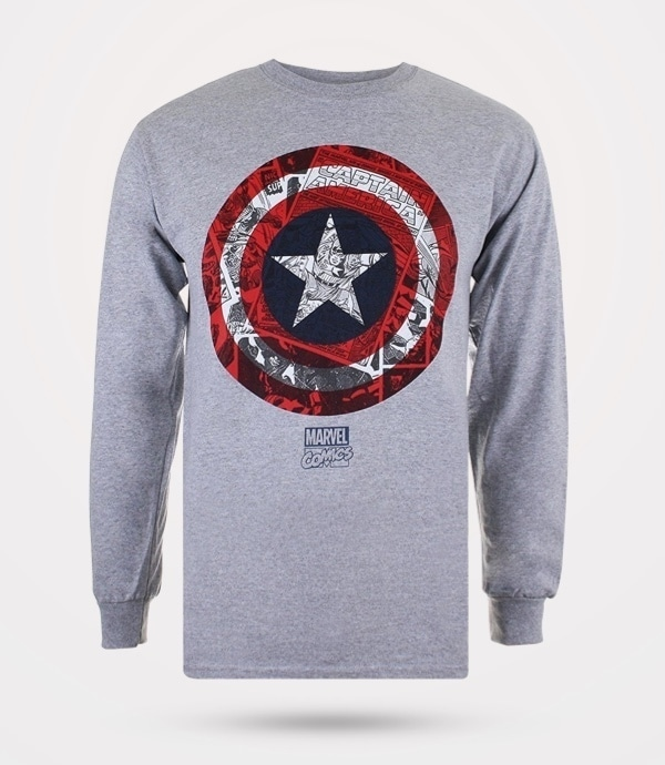Amazon | Camiseta manga larga Capitán América Comic Shield