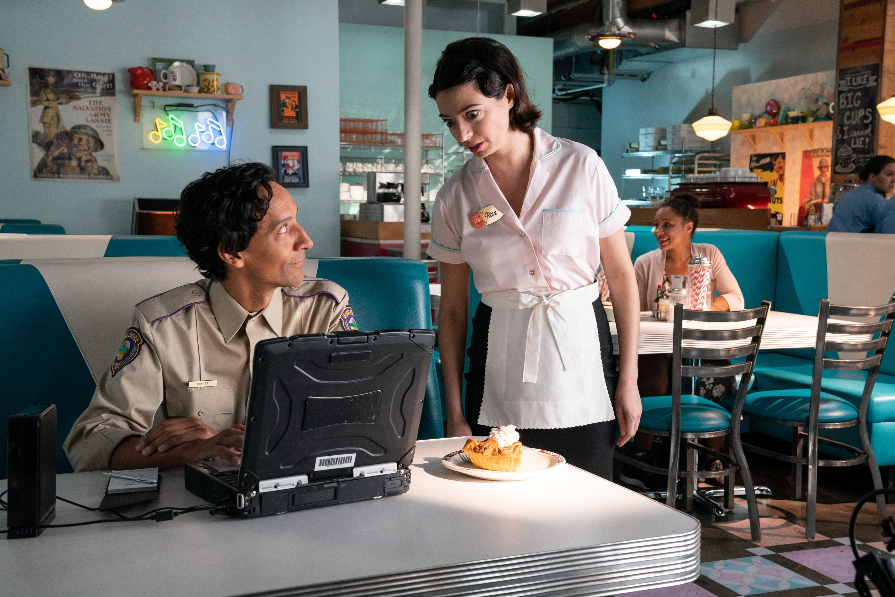 Danny Pudi and Kate Micucci in Flora & Ulysses