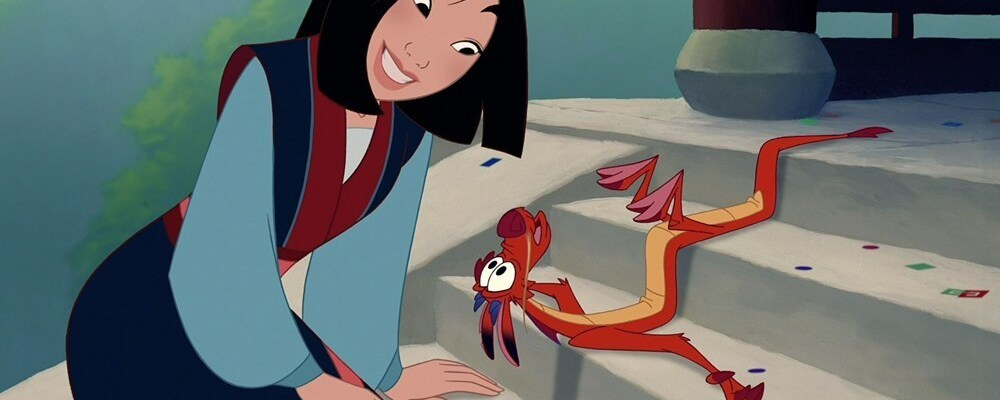 "Mulan sitting on steps next to a flat Mushu in the animated film ""Mulan"""