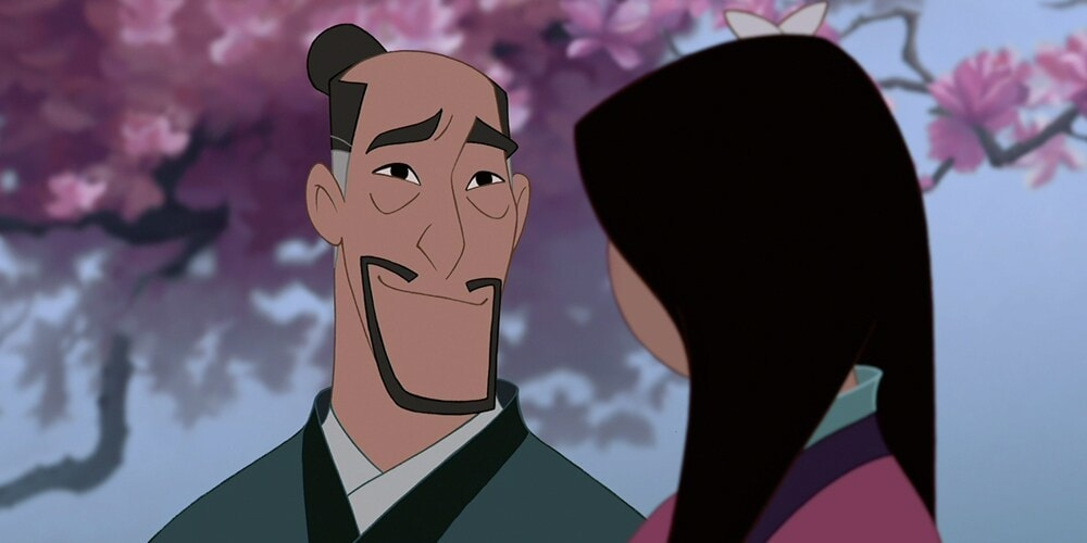 "Characters Fa Zhou and Mulan talking in the animated movie ""Mulan"""