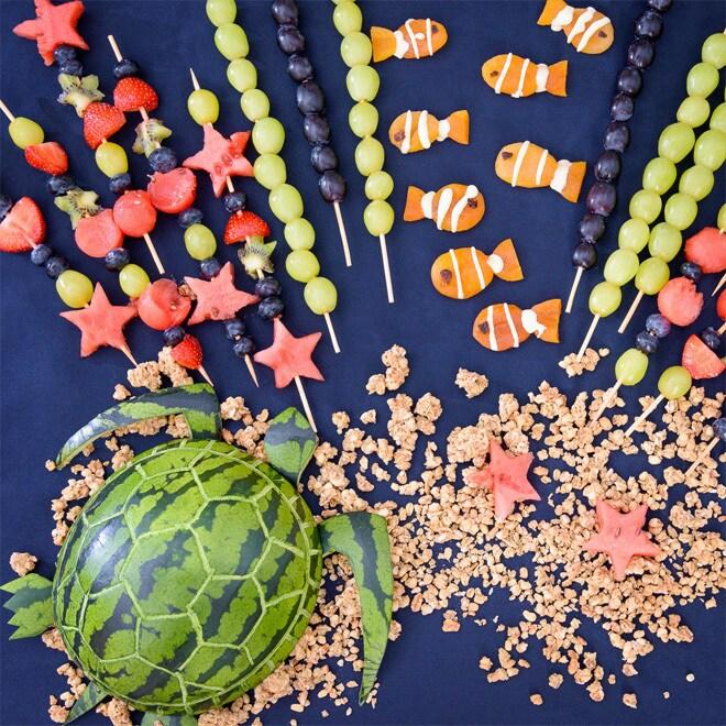 Piatto di frutta della barriera corallina