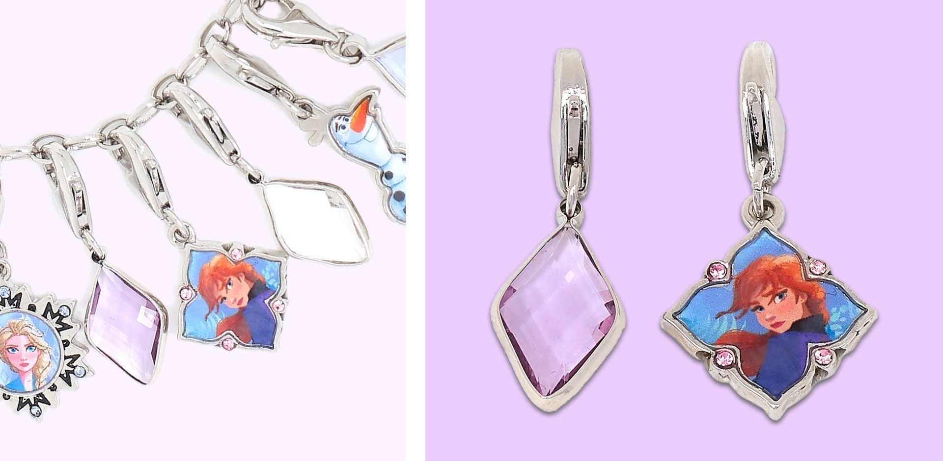 Snowflake charm with Anna character artwork and a pink diamond charm