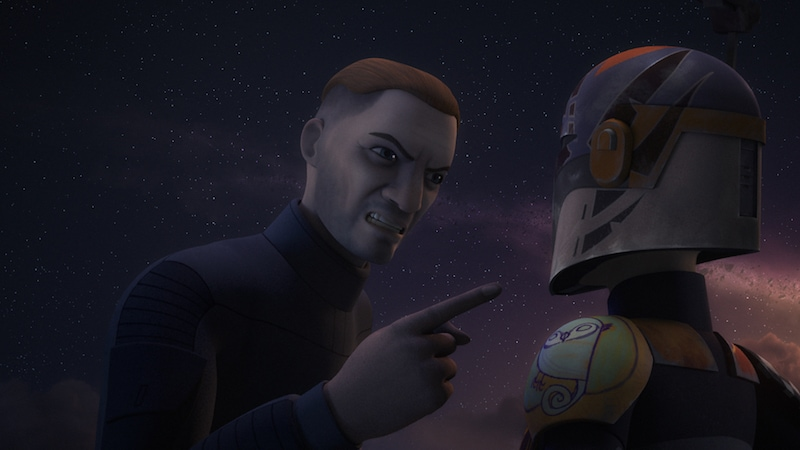 Fenn Rau in an altercation with Sabine Wren