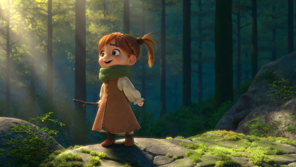 Little girl in the woods holding a twig from the short film Fetch