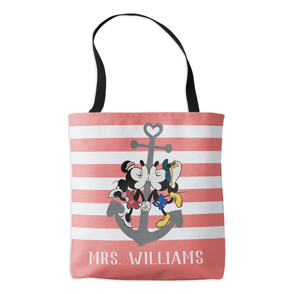 Mickey and Minnie Mouse Pink Tote Bag - Customizable - Disney Cruise Line