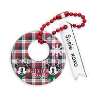 Image of Santa Mickey and Minnie Mouse ''Merry & Bright'' Leather Luggage Tag - Personalizable # 1