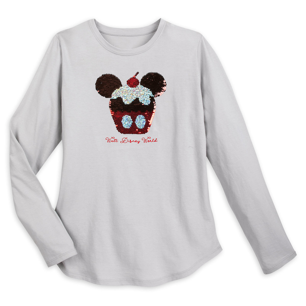 055009ec700e Product Image of Mickey Mouse Cupcake Reversible Sequin T-Shirt for Women -  Walt Disney