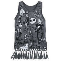 Image of Nightmare Before Christmas Fringed Tank Top for Girls # 1