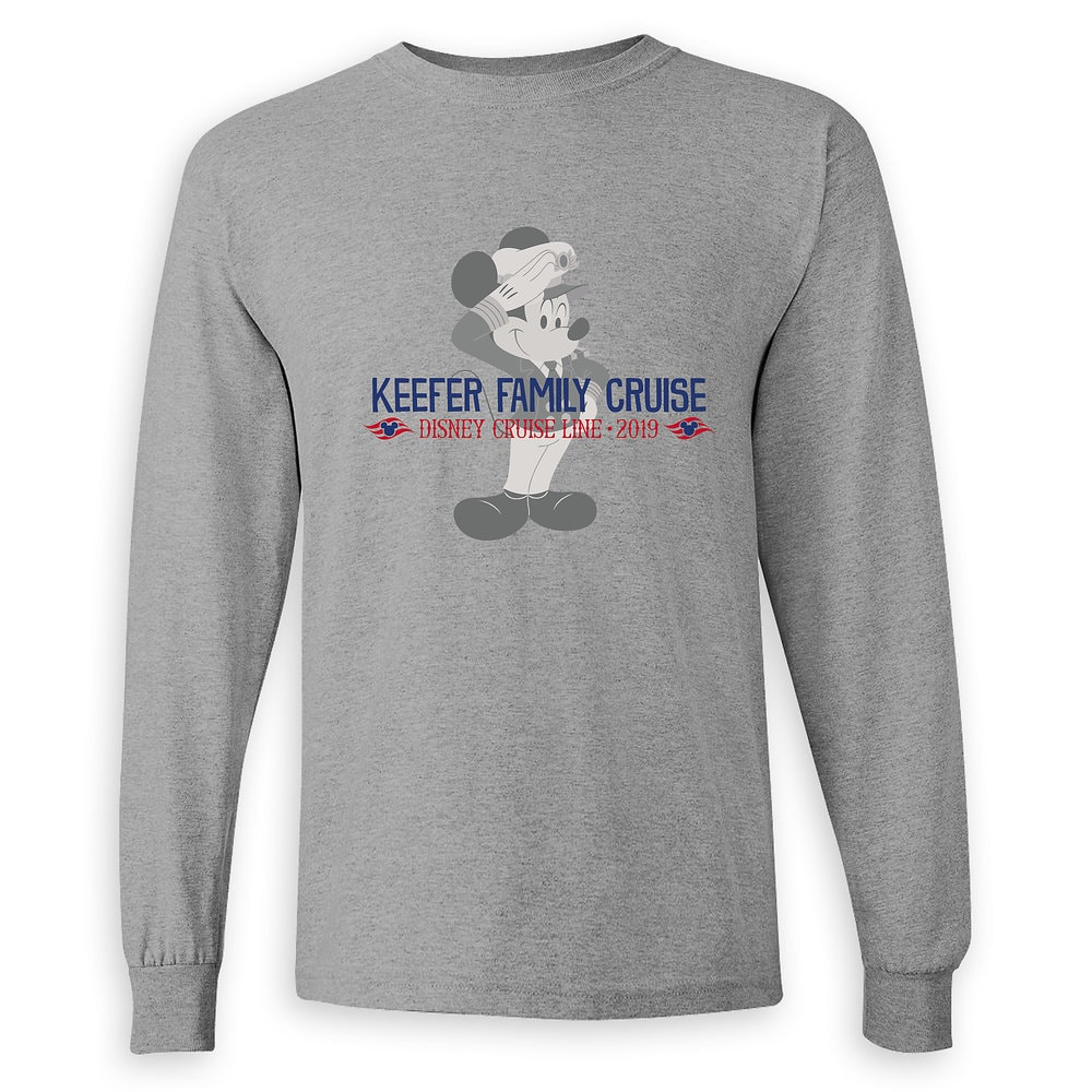 Adults' Captain Mickey Mouse Disney Cruise Line Family Cruise 2019 Long Sleeve T-Shirt - Customized