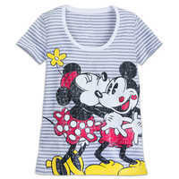 Image of Mickey and Minnie Mouse Striped T-Shirt for Women # 1