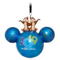 Image of Mickey Mouse Icon Ball Ornament with Chip 'n Dale Figures - Walt Disney World 2019 # 1