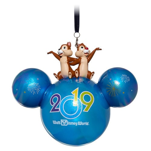 Mickey Mouse Icon Ball Ornament with Chip 'n Dale Figures - Walt Disney World 2019