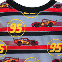 Image of Lightning McQueen Striped Shorts Sleep Set for Boys # 4