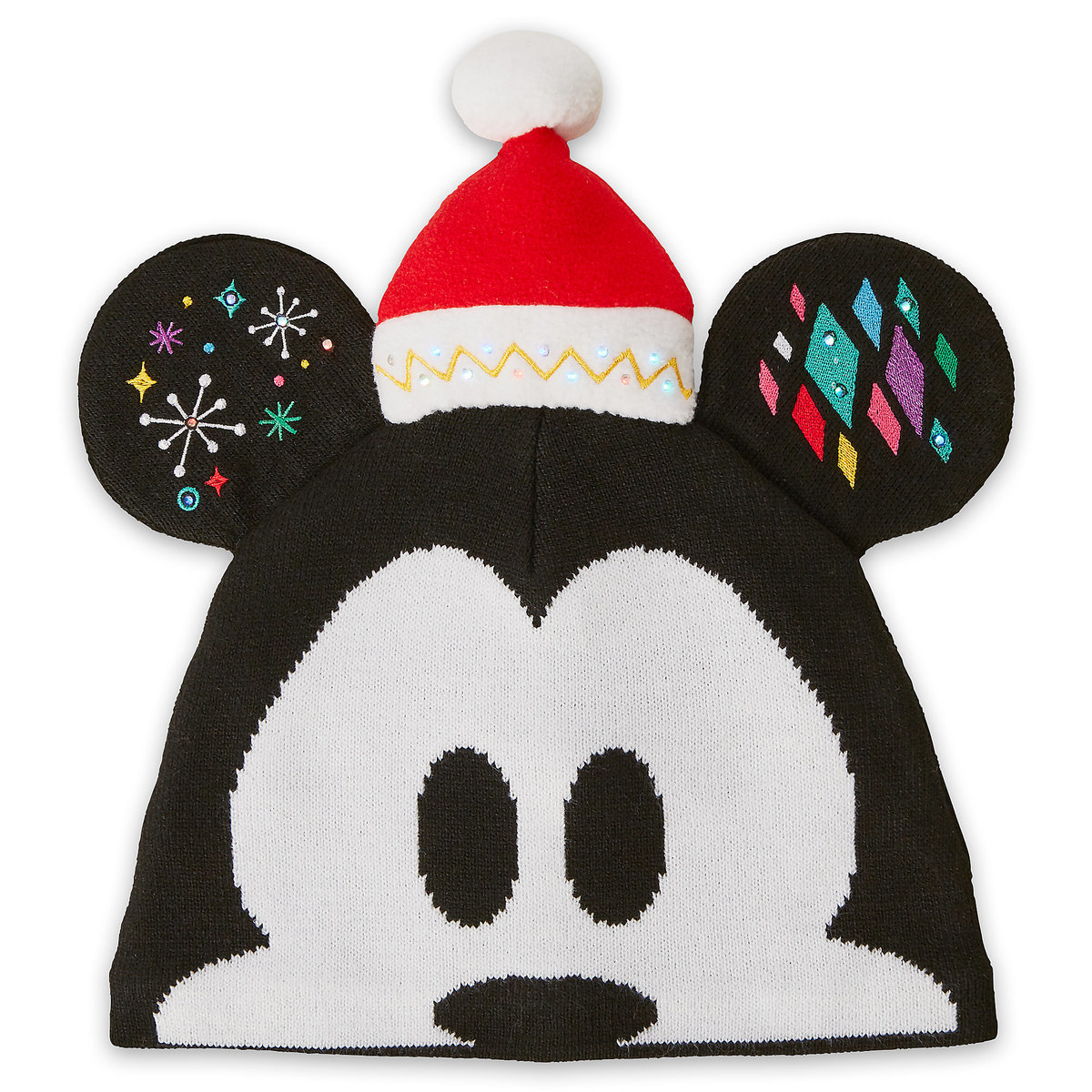 dbe2a7e5f2db5 Product Image of Mickey Mouse Light-Up Knit Holiday Ear Hat for Adults   1