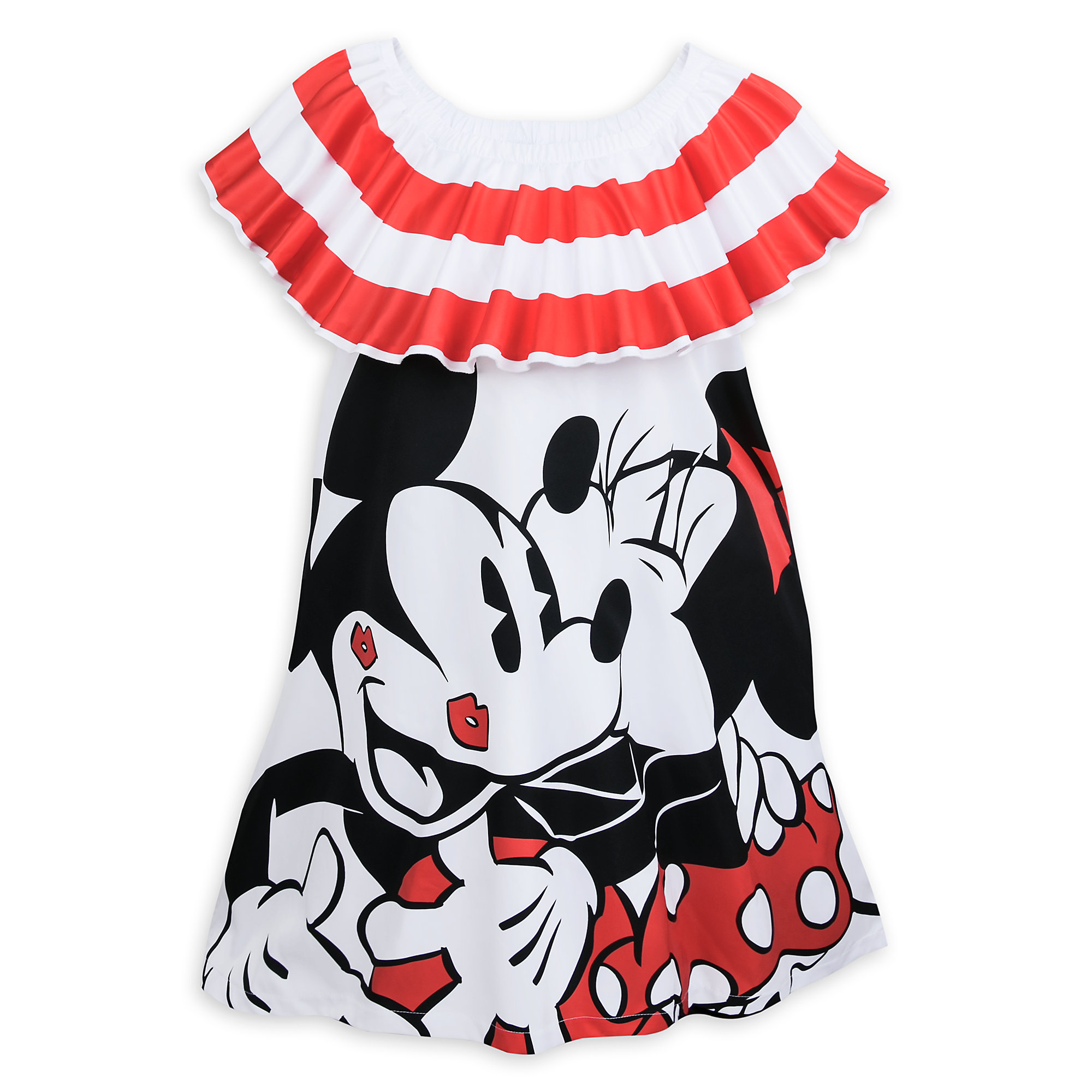 Mickey Mouse and Minnie Mouse Off-the-Shoulder Dress for Women by Sugarbird