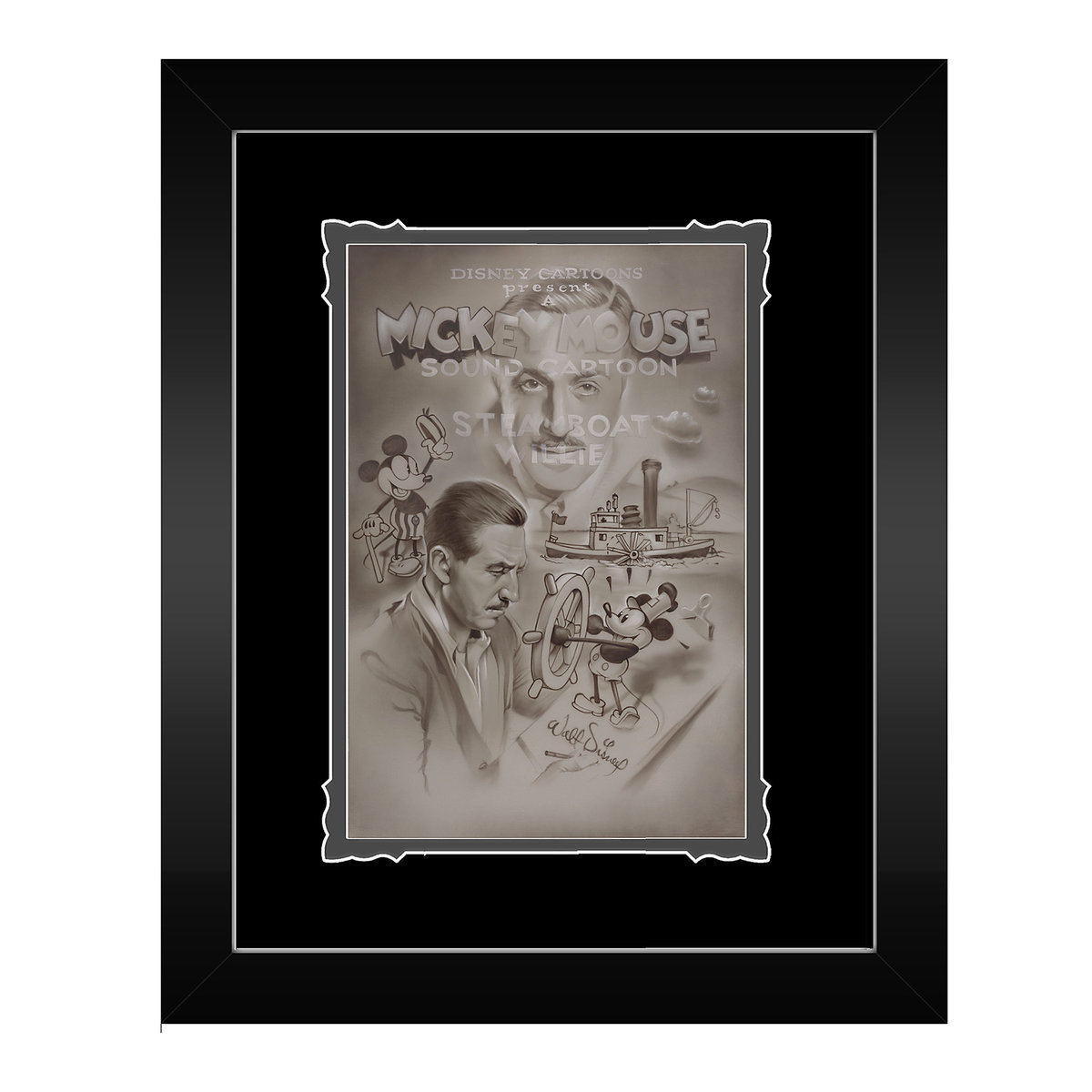 Steamboat Willie \'\'Full Steam Ahead\'\' Framed Deluxe Print by Noah ...